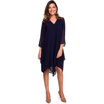 textil Mujer Vestidos cortos Style S159 Vestido de gasa con dobladillo asimétrico - azul marino