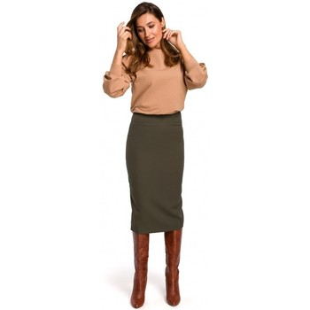 textil Mujer Faldas Style S171 Falda lápiz de cintura alta - caqui