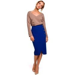 textil Mujer Faldas Moe M454 Falda lápiz con botones decorativos - azul real