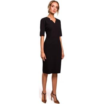 textil Mujer Vestidos cortos Moe M455 Vestido con cuello en V - negro