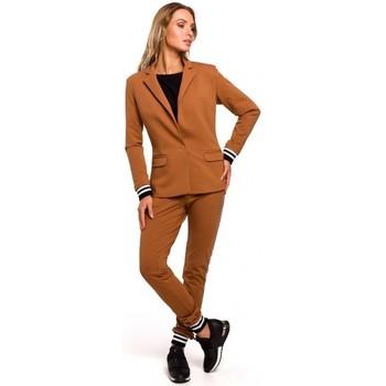 textil Mujer Chaqueta de traje Moe M459 Blazer con puños de canalé a rayas - caramelo