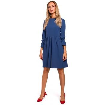 textil Mujer Vestidos cortos Moe M465 Vestido con mangas rugosas - azul