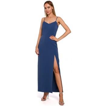 textil Mujer Vestidos largos Moe M485 Maxi vestido de noche con abertura alta - azul