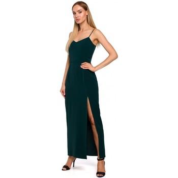 textil Mujer Vestidos largos Moe M485 Maxi vestido de noche con abertura alta - verde