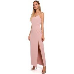 textil Mujer Vestidos Moe M485 Maxi vestido de noche con abertura alta - polvo