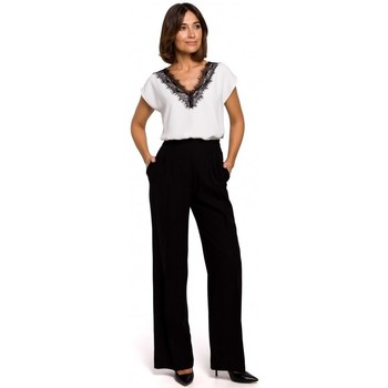 textil Mujer Pantalones chinos Style S203 Pantalones palazzo con cintura elástica - negro