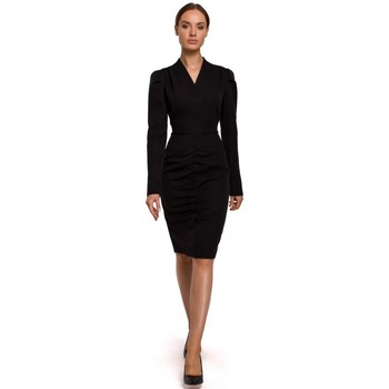 textil Mujer Vestidos cortos Moe M547 Disfraz con fruncido delantero - negro