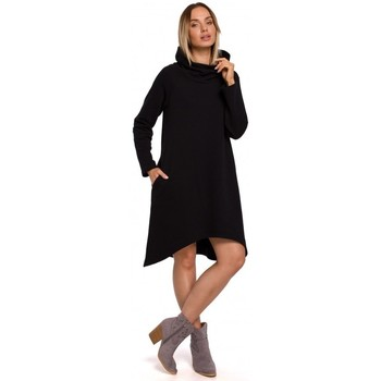textil Mujer Vestidos cortos Moe M551 Vestido de punto con dobladillo asimétrico - negro