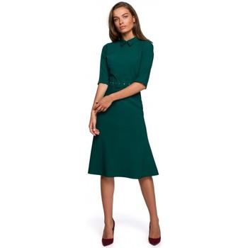 textil Mujer Vestidos cortos Style S231 Cuello dres con cinturón de hebilla - verde