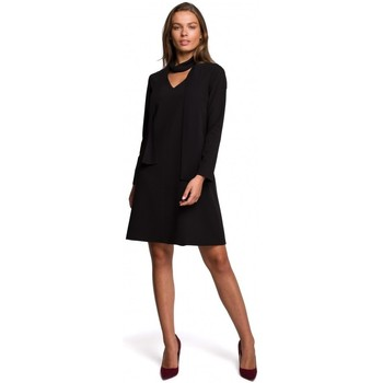 textil Mujer Vestidos cortos Style S233 Vestido con bufanda de gasa - negro