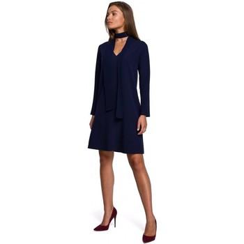 textil Mujer Vestidos cortos Style S233 Vestido de turno con pañuelo de gasa - azul marino