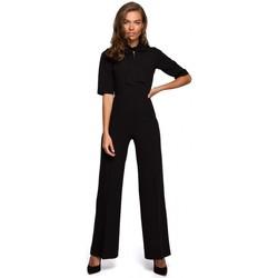 textil Mujer Monos / Petos Style S243 Elegante mono con cuello de corbata - negro