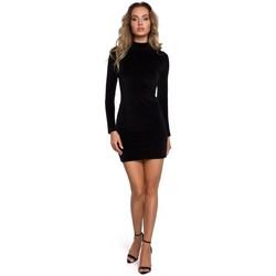 textil Mujer Vestidos cortos Moe M558 Mini vestido de terciopelo de cuello alto - negro