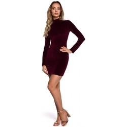 textil Mujer Vestidos cortos Moe M558 Mini vestido de terciopelo de cuello alto - granate