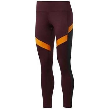 textil Mujer Pantalones Reebok Sport Wor Mesh Tight De color naranja, Rojo burdeos