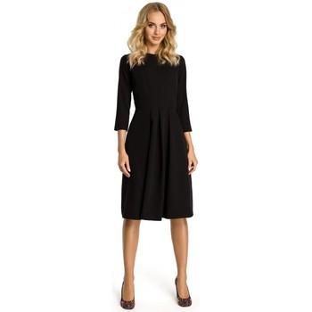 textil Mujer Vestidos cortos Moe M335 Vestido con pliegue frontal - negro