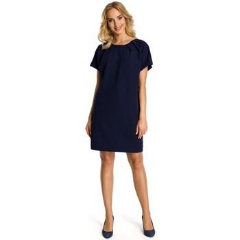 textil Mujer Vestidos cortos Moe M337 Vestido con pliegues - azul marino