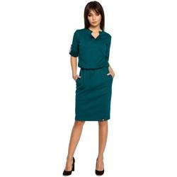 textil Mujer Vestidos cortos Be B056 Vestido de punto estilo camisero - verde