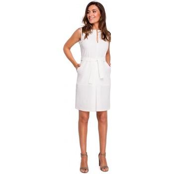 textil Mujer Vestidos cortos Style S158 Vestido sin mangas con pliegue frontal - color crudo