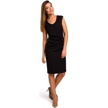 textil Mujer Vestidos cortos Style S174 Vestido sin mangas con fruncido delantero - negro