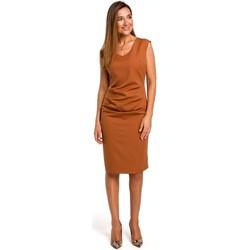 textil Mujer Vestidos cortos Style S174 Vestido sin mangas con fruncido delantero - jengibre