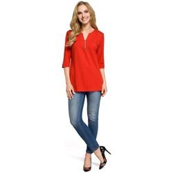 textil Mujer Tops / Blusas Moe M278 Blusa túnica con cuello de cremallera - rojo