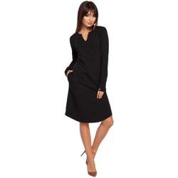 textil Mujer Vestidos Be B017 Vestido con cuello de muesca - negro