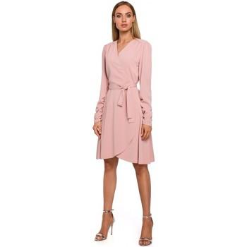 textil Mujer Vestidos cortos Moe M487 Vestido con mangas fruncidas - polvo