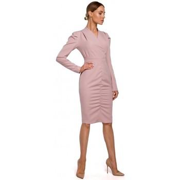 textil Mujer Vestidos cortos Moe M547 Disfraz con frente fruncido - polvo