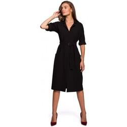 textil Mujer Vestidos largos Style S230 Vestido camisero midi con bolsillos de parche - negro