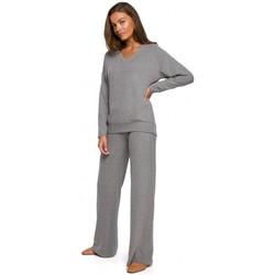 textil Mujer Pantalones fluidos Style S249 Pantalones de punto de pierna ancha - gris