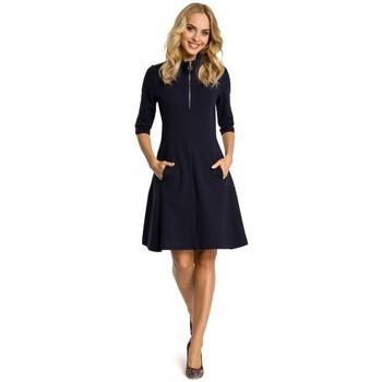 textil Mujer Vestidos cortos Moe M349 Vestido ajustado con cuello de cremallera - azul marino