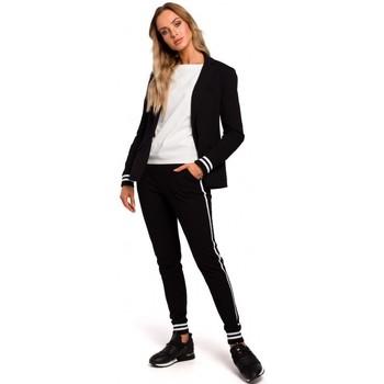 textil Mujer Chaqueta de traje Moe M459 Blazer con puños de canalé a rayas - negro
