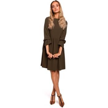 textil Mujer Vestidos cortos Moe M465 Vestido con mangas rugosas - caqui