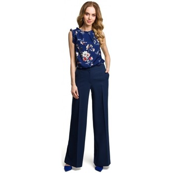 textil Mujer Pantalones fluidos Moe M378 Pantalones de pierna ancha - azul marino
