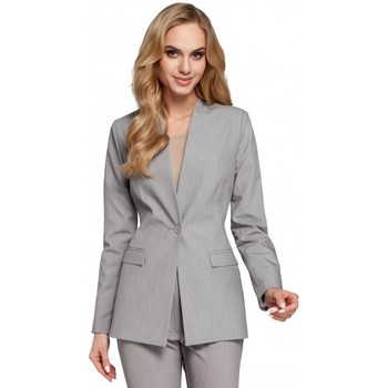 textil Mujer Chaqueta de traje Moe M304 Chaqueta de un botón - gris
