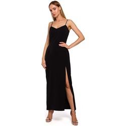 textil Mujer Vestidos largos Moe M485 Maxi vestido de noche con abertura alta - negro
