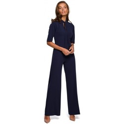textil Mujer Monos / Petos Style S243 Elegante mono con cuello de corbata - azul marino
