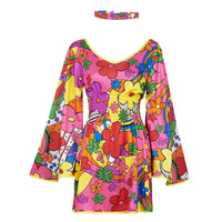 textil Mujer Disfraces Fun Costumes COSTUME ADULTE FLORAL FUN Multicolor