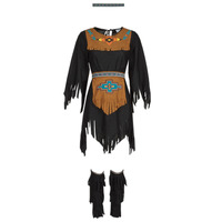 textil Mujer Disfraces Fun Costumes COSTUME ADULTE INDIENNE SHE-WOLF Multicolor