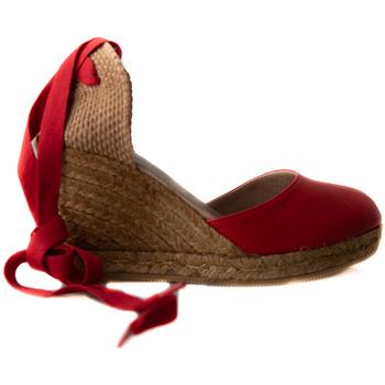 Zapatos Mujer Alpargatas Gaimo YUTE CUÑA ALTA 7 CINTA PIEL Rojo