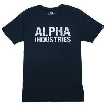 textil Hombre Camisetas manga corta Alpha T-shirt  Camo Print bleu nuit/blanc