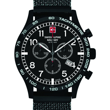 Relojes & Joyas Hombre Relojes analógicos Swiss Alpine Military 1746.9177, Quartz, 43mm, 10ATM Negro