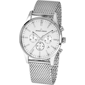 Relojes & Joyas Hombre Relojes analógicos Jacques Lemans 1-2025G, Quartz, 42mm, 10ATM Plata