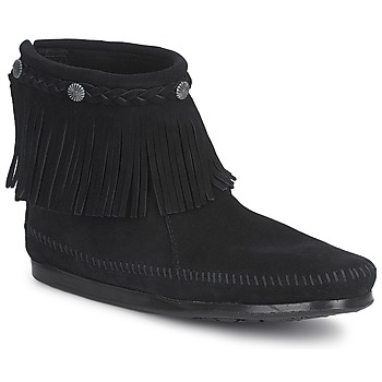 Zapatos Mujer Botas de caña baja Minnetonka HI TOP BACK ZIP BOOT Negro