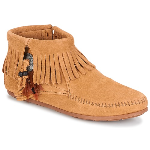 Zapatos casuales salvajes Zapatos especiales Minnetonka CONCHO FEATHER SIDE ZIP BOOT Camel