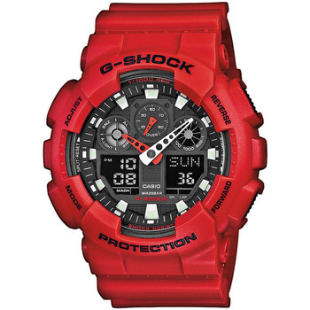 Relojes & Joyas Hombre Relojes mixtos analógico-digital Casio GA-100B-4AER, Quartz, 51mm, 20ATM Rojo