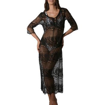 textil Mujer Pareos Luna Vestido largo de playa encaje transparente Malibu negro Pearl Black