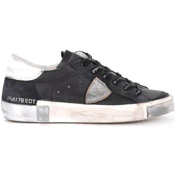 Zapatos Hombre Zapatillas bajas Philippe Model Zapatillas Paris X de piel y suede negra y plata Negro