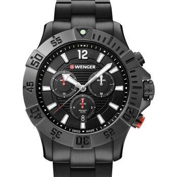 Relojes & Joyas Hombre Relojes analógicos Wenger 01.0643.121, Quartz, 43mm, 20ATM Negro